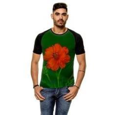 Imagem de Camiseta Raglan Pássaro Margarida Laranja Masculina