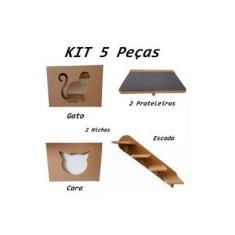 Kit Nicho Para Gato - 5 Peças = 2 Nichos + 2 Prateleira + 1 Escada Gato Pet Mdf 15mm