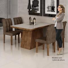 Imagem de Conjunto Sala de Jantar Mesa Sevilha I Tampo de Vidro 4 Cadeiras Vitoria Espresso Móveis Chocolate/Animale Marrom