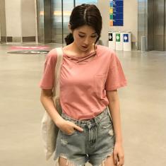 Imagem de Verão De Manga Curta Camisa Das Mulheres Coreano Moda Solta T Shirt Sexy Oco Decote Cruz Cinta Mul