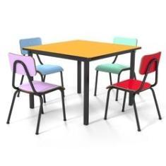 Imagem de Conjunto Escolar Infantil 80x80cm Colorido Mesa Ouro