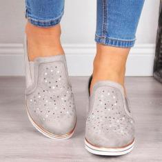 Imagem de Sapatos femininos selvagens respirável salto inclinado oco strass calçados esportivos