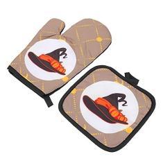 Imagem de VALICLUD Pegador de Panela Luvas de Forno de Microondas Luvas Trivet Pot Mat Padrão Halloween Luvas de Trabalho Resistentes Ao Calor Luvas de Parágrafo Cozinhar Cozimento Fritadeira