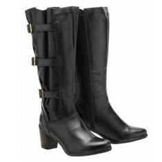 Imagem de Bota Montaria Atron Shoes Couro Feminina Cano Alto Leve