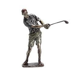 Imagem de FASW Estátua de golfista, ornamento decorativo vintage de resina para prateleira de escritório em casa, balançando um taco de golfe (33/38 cm)