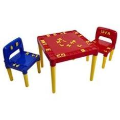 Imagem de Mesa Mesinha Educativa Infantil Com 2 Cadeiras Para Crianças