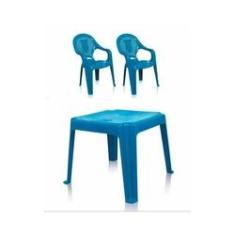 Imagem de Kit 1 Mesa 45x45cm e 2 Cadeiras Decoradas Teddy Infantil Azul