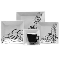 Aparelho de Jantar Quadrado de Porcelana 20 peças - Quartier Tattoo Oxford Porcelanas