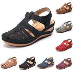Imagem de ZYH Sandálias femininas de couro sintético macio, rasteirinhas casuais, sandálias de bico redondo ortopédico premium, sapatos de praia de verão, sandálias de bico fechado antiderrapantes, , 8.5