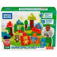 Imagem de Conjunto Brinquedo Infantil Blocos De Montar Para Bebê - Animais Amigos Da Floresta - Mega Bloks - 70 Peças - Sustentável Material Derivado De Plantas - Original Fisher Price
