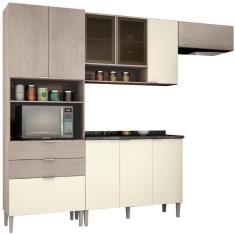 Imagem de Cozinha Completa 3 Gavetas 9 Portas com vidro Turmalina Bartira