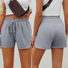 Imagem de Moda feminina casual cor sólida esportiva solta calça curta reta cool