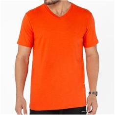 Imagem de Camiseta Masculina Básica Comfort Gola V Laranja