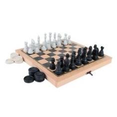 Jogo De Xadrez E Damas Carlu 56 Peças