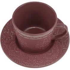 Imagem de Conjunto 4 Xícara Porcelana Para Chá Pires Tiles Lilac 250Ml