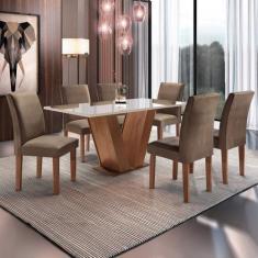 Imagem de Conjunto Sala de Jantar Mesa Tampo de Vidro 6 Cadeiras Espanha Siena M