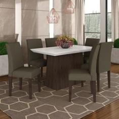 Imagem de Conjunto Sala De Jantar 1,36 Italia 6 Cadeiras Imbuia - M. Arapongas
