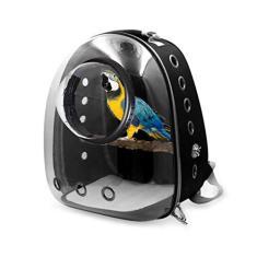 Imagem de EAPTS Mochila para transporte de animais de estimação, mochila para gatos e cães, bolsa de viagem com pássaro de papagaio, cápsula espacial, mochila transparente respirável para viagens, caminhadas, caminhada, uso ao ar livre ()