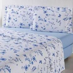 Imagem de Jogo de Cama King Blue Flower Percal 180 Fios 4 Peças - Casa & Conforto