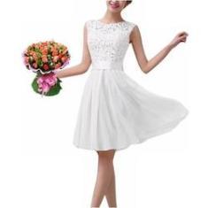 Imagem de Vestido Renda Civil Noiva Daminha Casamento Batizado Rodado