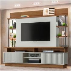 Imagem de Home Salvador Linea Brasil para TV até 65` com LED 4 Nichos e Portas Deslizantes - Off White/Nogueira