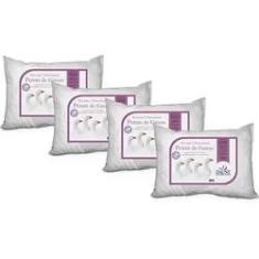 Imagem de Kit Família - 4 Travesseiros 100% Penas de Ganso Daune - 45x65 cm