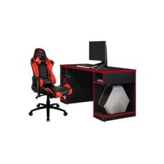 Kit Mesa Para PC Gamer Destiny com Cadeira Gamer TGC12 H01 ThunderX3 Preto Vermelho - Lyam Decor