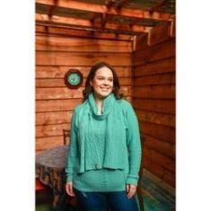 Imagem de Blusa frio tricot feminina plus size Peneloppe Malhas Verde/ / Berinjela/ Cobre
