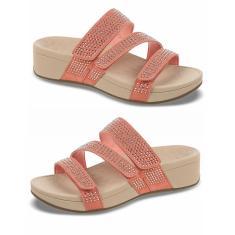 Imagem de Sandálias femininas de strass em cunha calçados femininos chinelos de praia femininos