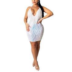 Imagem de Vestido feminino Aro Lora, sexy, decote V profundo, lantejoulas, borlas e lantejoulas, colado ao corpo, , XL