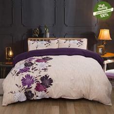 Imagem de Conjunto de capa de edredom 3 peças, conjunto de cama com estampa de flores, capa de colcha para cama de casal King Size com 2 fronhas, 1 capa de colcha