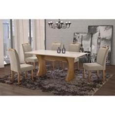 Imagem de Conjunto Sala de Jantar em Madeira Maciça Mesa Milão Curva e 6 Cadeiras Priscila Siena Móveis