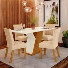 Imagem de Conjunto Mesa Tampo MDF e 4 Cadeiras de Jantar Estofadas Lupita Casa 812