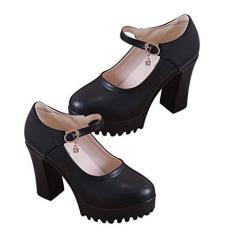 Imagem de Holibanna Sapatos femininos Mary Jane salto alto, bico redondo, salto alto grosso, sapatos de festa, , 7