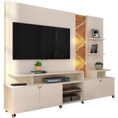 Imagem de Estante Home Theater Para TV até 55 Pol. Cross Off White/Amêndoa - Lukaliam Móveis