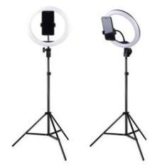 """Imagem de Iluminador LED Ring Light 10"""" c/ Tripé e Suporte Celular"""