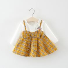 Imagem de Vestido de camiseta de manga comprida para meninas outono bebê com linda saia xadrez