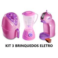 Imagem de Kit Cozinha Infantil com 3 Eletrodomésticos Brinquedos Airfryer, Liquidificador e Café e Cafeteira Dolce Gusto com 1 Cap