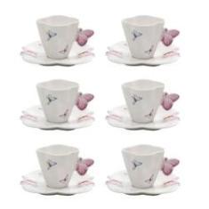 Imagem de Jogo 6 xícaras 100ml para café de porcelana com pires Borboletas Wolff - 1162