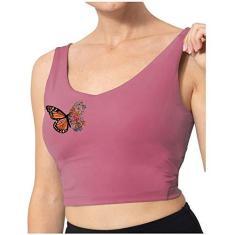 Imagem de Regata feminina de borboleta, sem mangas, gola em U, camiseta curta casual com almofada de peito móvel, , M