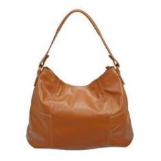 Imagem de Bolsa Feminina Grande Couro Legítimo Tiracolo Modelo Saco Sacola Bucket Bag Metais s Madamix  Marrom