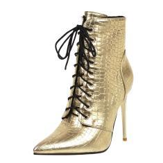 Imagem de Botas femininas com cordões no tornozelo sem salto e salto alto casual bota curta
