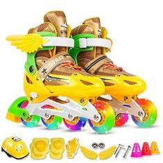 Imagem de Patins Inline Ajustáveis com Rodas Iluminadas para Crianças e Adultos Patins Inline com Conjunto de Equipamentos de Proteção Joelheiras Joelheiras Acessórios para Capacete de Patinação