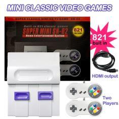 Imagem de Super mini snes retro console de videogame clássico jogador de tv 821 jogos integrados com gamepads