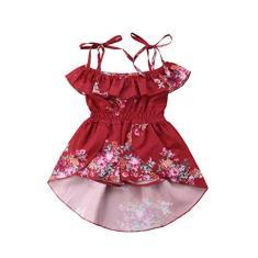 Imagem de Macacão infantil para meninas com frente única floral com babados Roupas macacão Vestidos de shorts Romper