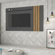 Imagem de Painel para TV até 75 Polegadas 1 Prateira Decorativa Atraente JCM Móveis Grafite/Noronha