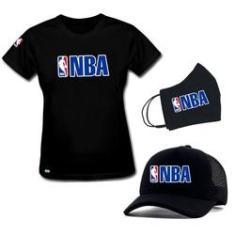 Imagem de Camiseta Baby Look  e Boné  Personalizados Liga de Basquete NBA com Máscara