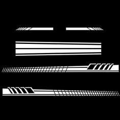 Imagem de 5 peças de decalques de carro com listras de corrida para carroçaria lateral do carro/capô/espelho retrovisor, decalque de vinil listrado impermeável acessórios para caminhão SUV