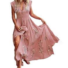 Imagem de maiduoduo01 Vestido casual moderno para mulheres, vestido longo sem mangas, gola em V, estampa floral, bainha grande, vestido longo para festa,  2GG