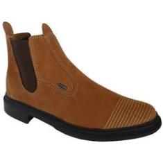 Imagem de Botina Masculina Em Couro Vaquejada Solado Costurado Nobuck castor- 4ssss calçados